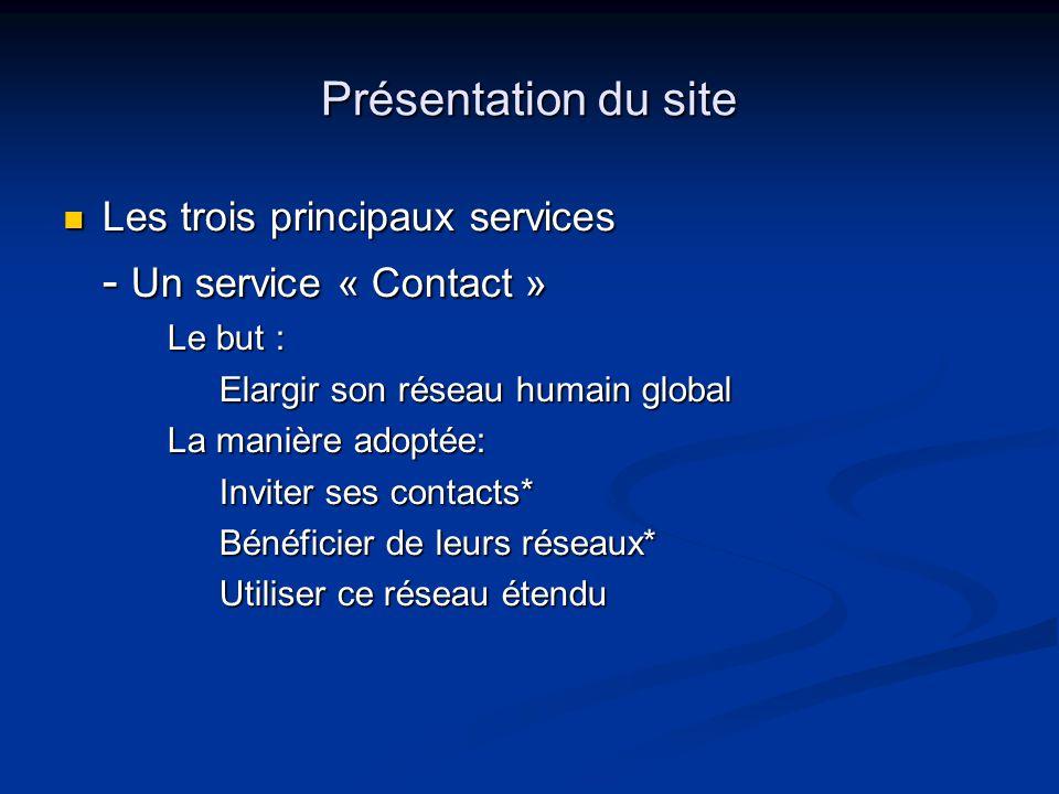 Présentation du site Les trois principaux services - Un service « Contact » Le but : Elargir son réseau humain global La manière adoptée: Inviter ses contacts* Bénéficier de leurs réseaux* Utiliser ce réseau étendu