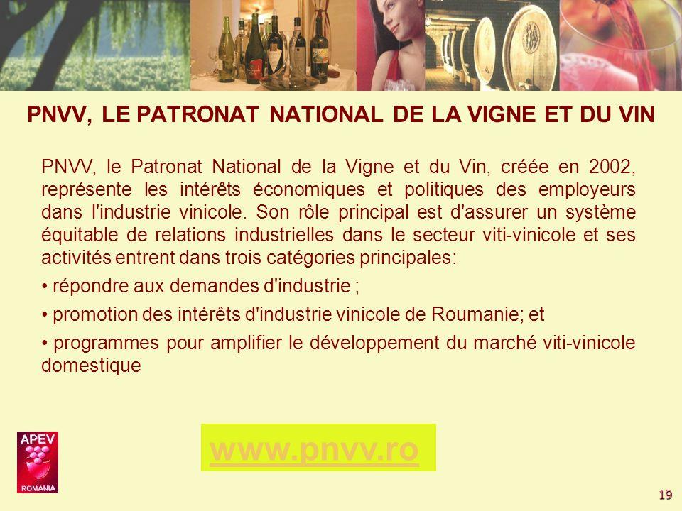 19 PNVV, le Patronat National de la Vigne et du Vin, créée en 2002, représente les intérêts économiques et politiques des employeurs dans l industrie vinicole.