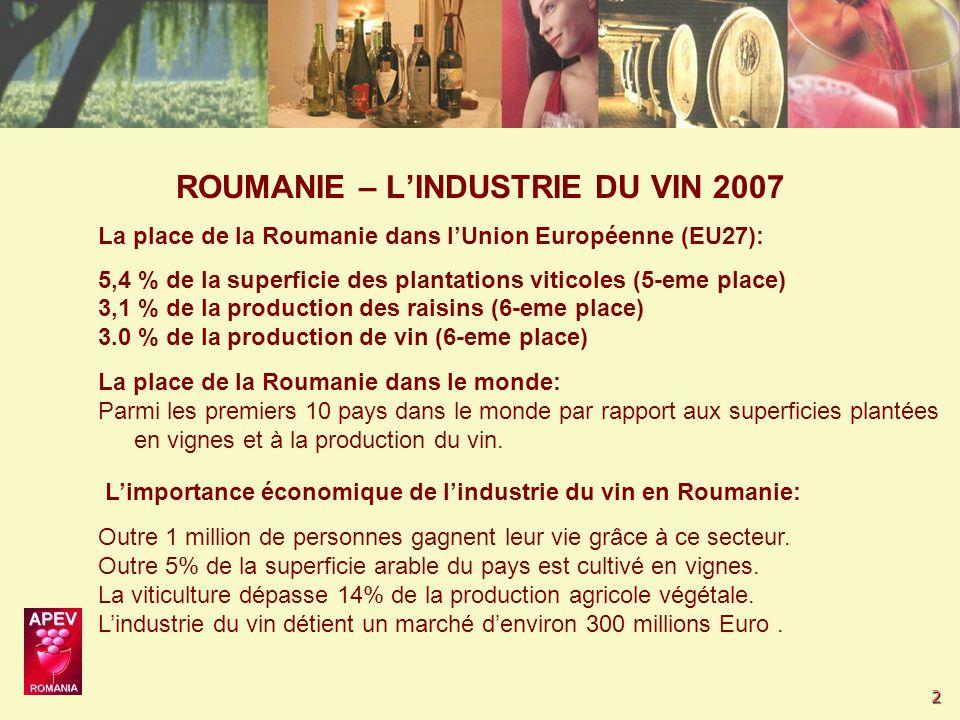 2 L'importance économique de l'industrie du vin en Roumanie: Outre 1 million de personnes gagnent leur vie grâce à ce secteur.