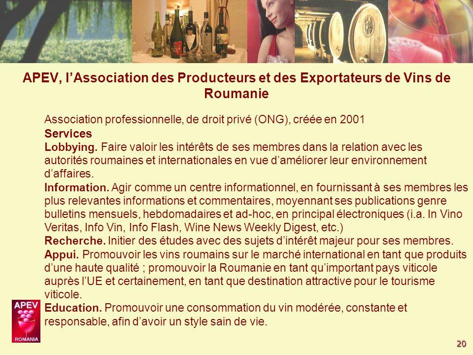 20 Association professionnelle, de droit privé (ONG), créée en 2001 Services Lobbying.