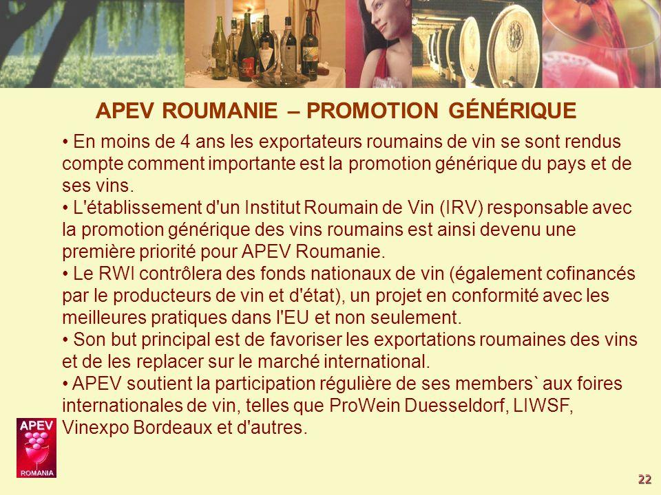 22 En moins de 4 ans les exportateurs roumains de vin se sont rendus compte comment importante est la promotion générique du pays et de ses vins.
