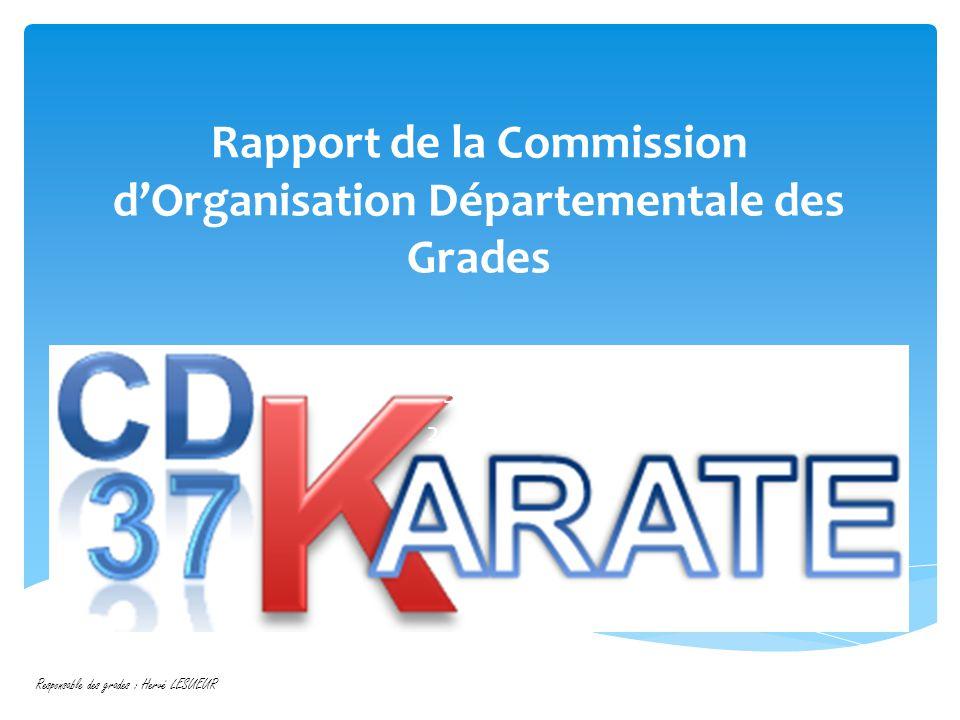 Rapport de la Commission d'Organisation Départementale des Grades Saison 2012-2013 Responsable des grades : Hervé LESUEUR