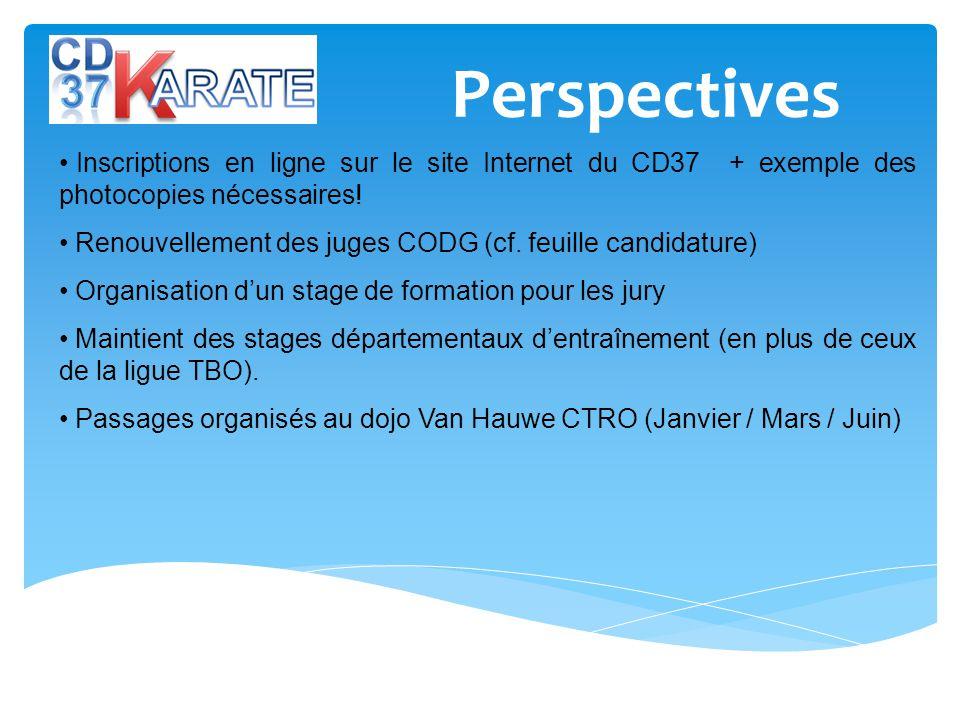 Perspectives Inscriptions en ligne sur le site Internet du CD37 + exemple des photocopies nécessaires.