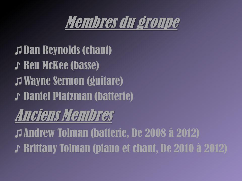 Membres du groupe ♫ Dan Reynolds (chant) ♪ Ben McKee (basse) ♫ Wayne Sermon (guitare) ♪ Daniel Platzman (batterie) Anciens Membres ♫ Andrew Tolman (ba