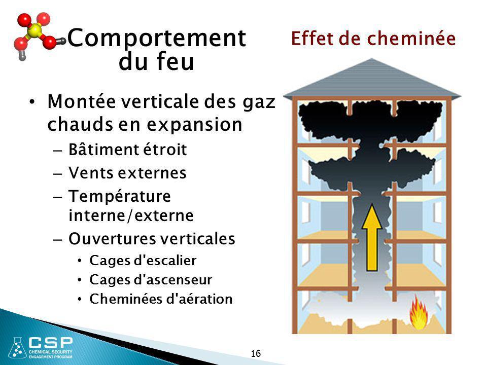 16 Comportement du feu Montée verticale des gaz chauds en expansion – Bâtiment étroit – Vents externes – Température interne/externe – Ouvertures vert