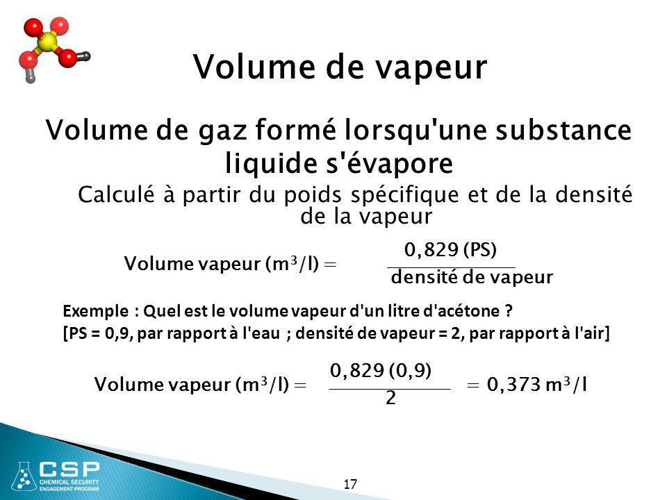 17 Volume de vapeur Volume de gaz formé lorsqu'une substance liquide s'évapore Calculé à partir du poids spécifique et de la densité de la vapeur 0,82