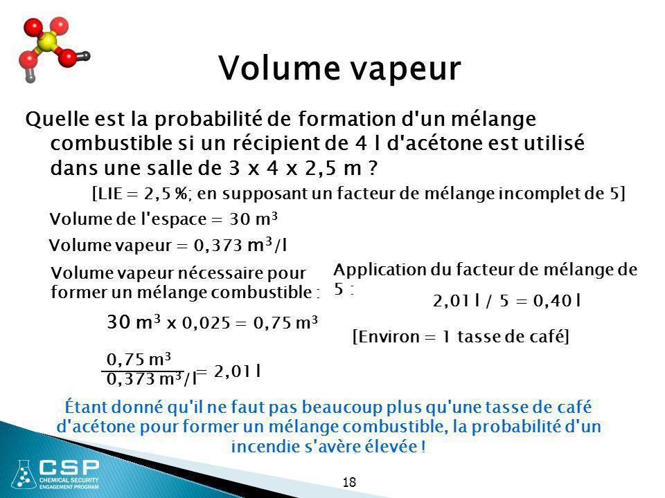 18 Volume vapeur Quelle est la probabilité de formation d'un mélange combustible si un récipient de 4 l d'acétone est utilisé dans une salle de 3 x 4