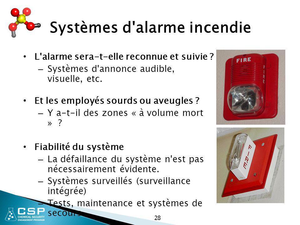 28 Systèmes d'alarme incendie L'alarme sera-t-elle reconnue et suivie ? – Systèmes d'annonce audible, visuelle, etc. Et les employés sourds ou aveugle