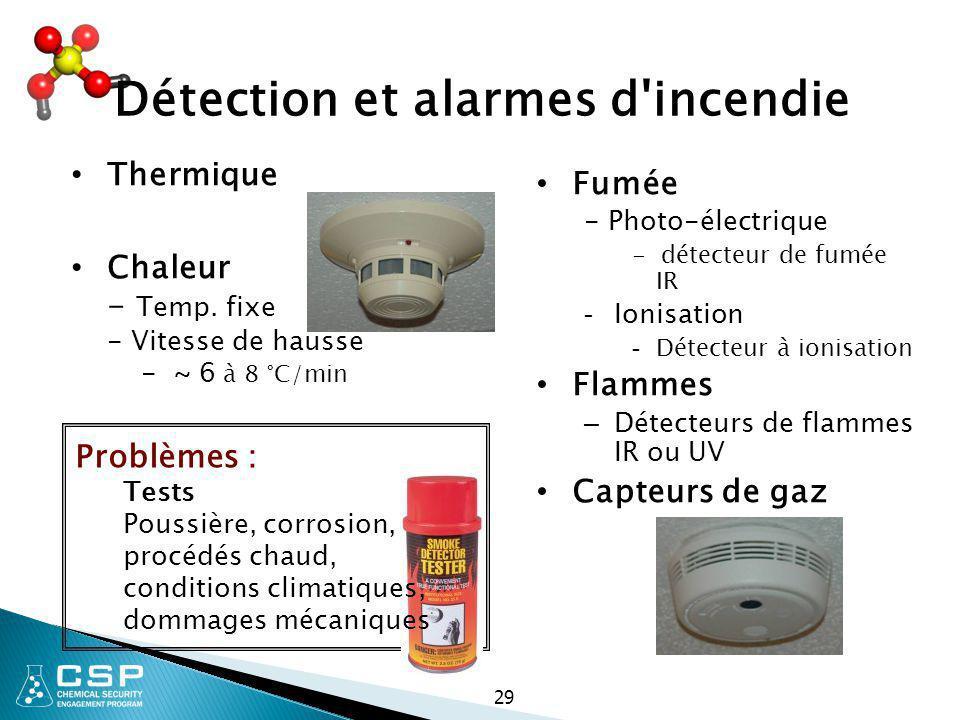29 Détection et alarmes d'incendie Thermique Chaleur - Temp. fixe - Vitesse de hausse - ~ 6 à 8 °C/min Fumée - Photo-électrique - détecteur de fumée I
