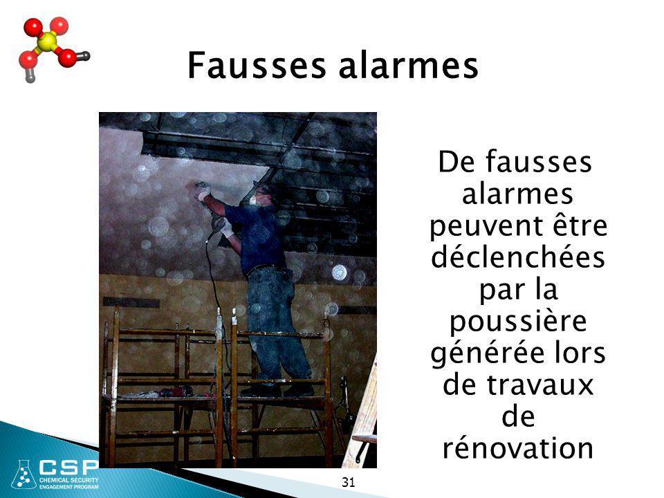 31 Fausses alarmes De fausses alarmes peuvent être déclenchées par la poussière générée lors de travaux de rénovation
