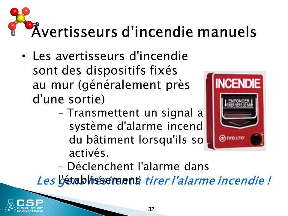 32 Avertisseurs d'incendie manuels Les avertisseurs d'incendie sont des dispositifs fixés au mur (généralement près d'une sortie) Les gens hésitent à