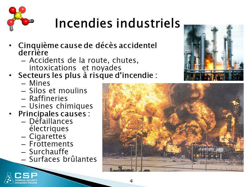 4 Incendies industriels Cinquième cause de décès accidentel derrière – Accidents de la route, chutes, intoxications et noyades Secteurs les plus à ris