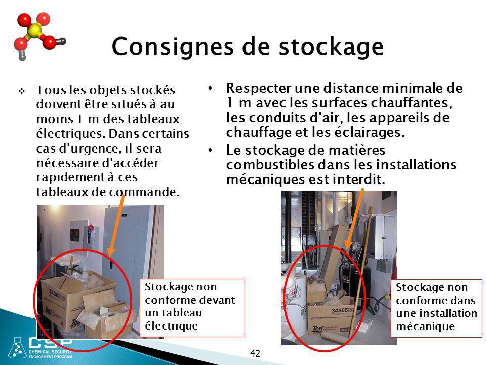 42 Consignes de stockage  Tous les objets stockés doivent être situés à au moins 1 m des tableaux électriques. Dans certains cas d'urgence, il sera n