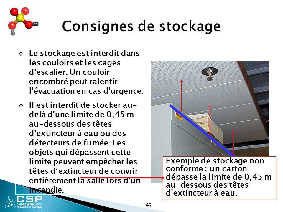 43 Consignes de stockage  Le stockage est interdit dans les couloirs et les cages d'escalier. Un couloir encombré peut ralentir l'évacuation en cas d