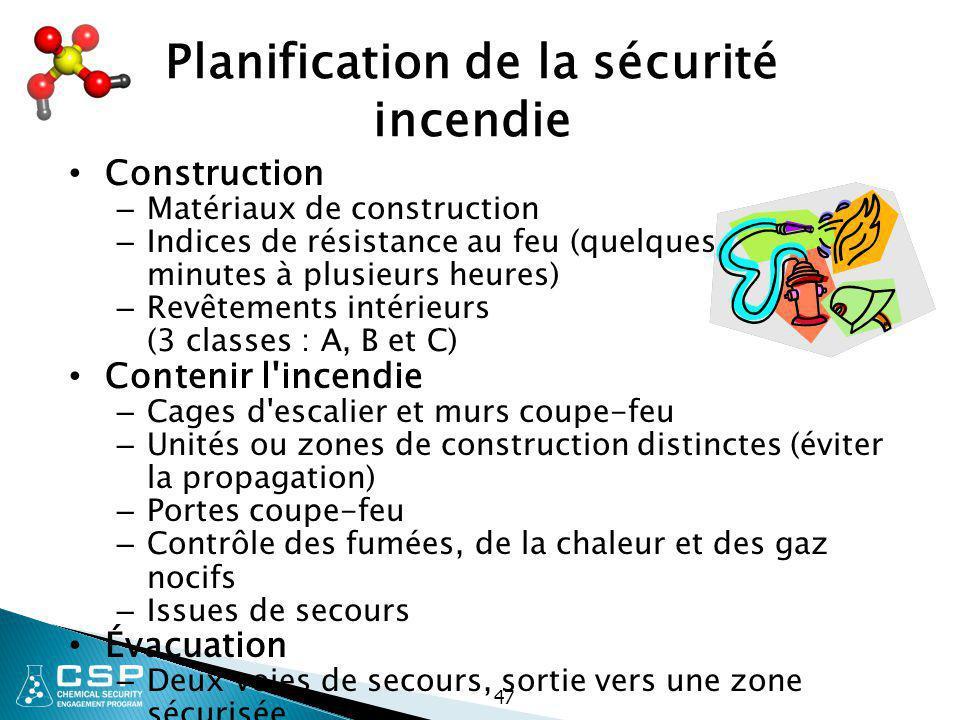 47 Planification de la sécurité incendie Construction – Matériaux de construction – Indices de résistance au feu (quelques minutes à plusieurs heures)