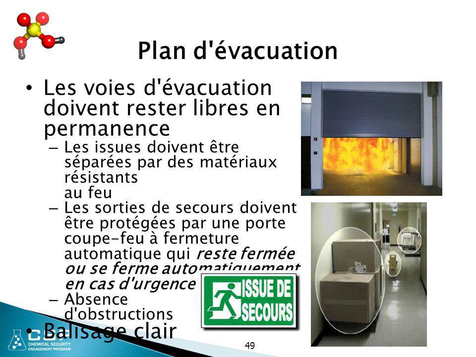 49 Plan d'évacuation Les voies d'évacuation doivent rester libres en permanence – Les issues doivent être séparées par des matériaux résistants au feu
