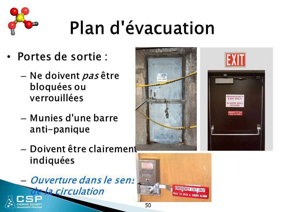 50 Plan d'évacuation Portes de sortie : – Ne doivent pas être bloquées ou verrouillées – Munies d'une barre anti-panique – Doivent être clairement ind