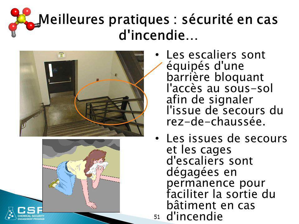 51 Meilleures pratiques : sécurité en cas d'incendie… Les escaliers sont équipés d'une barrière bloquant l'accès au sous-sol afin de signaler l'issue