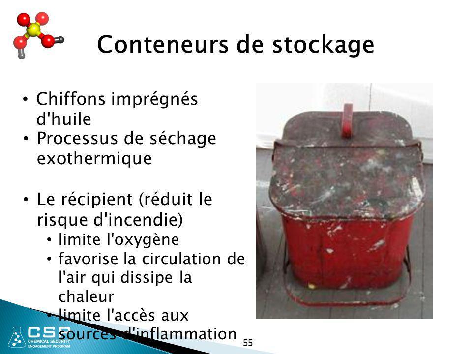 55 Conteneurs de stockage Chiffons imprégnés d'huile Processus de séchage exothermique Le récipient (réduit le risque d'incendie) limite l'oxygène fav
