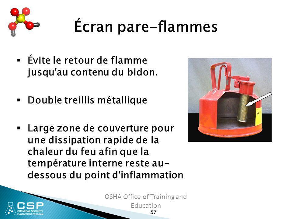 57 OSHA Office of Training and Education Écran pare-flammes  Évite le retour de flamme jusqu'au contenu du bidon.  Double treillis métallique  Larg