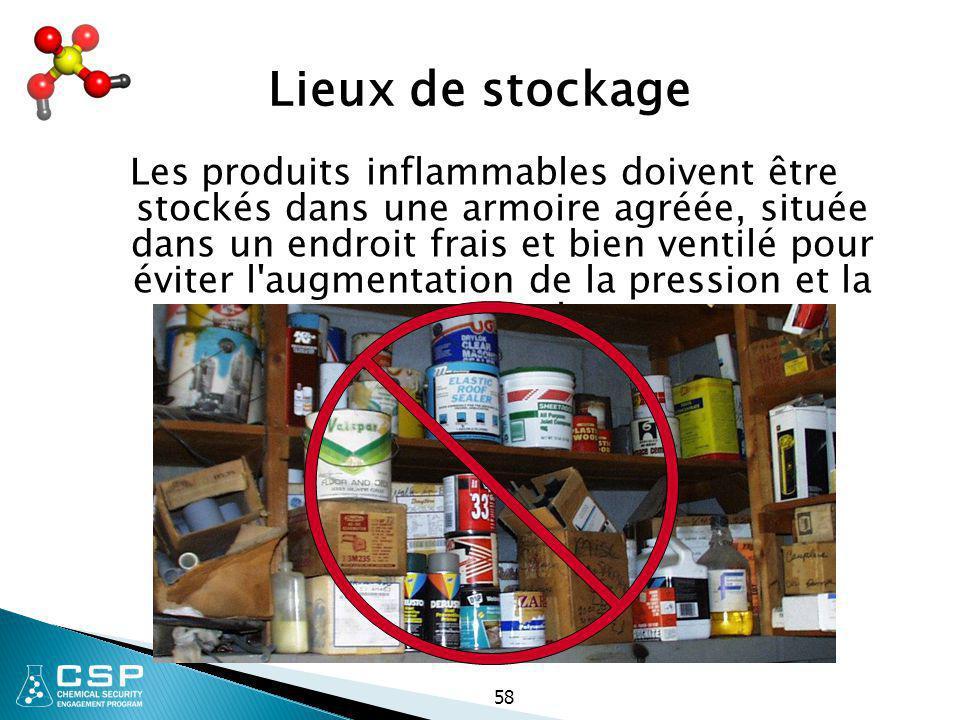 58 Lieux de stockage Les produits inflammables doivent être stockés dans une armoire agréée, située dans un endroit frais et bien ventilé pour éviter