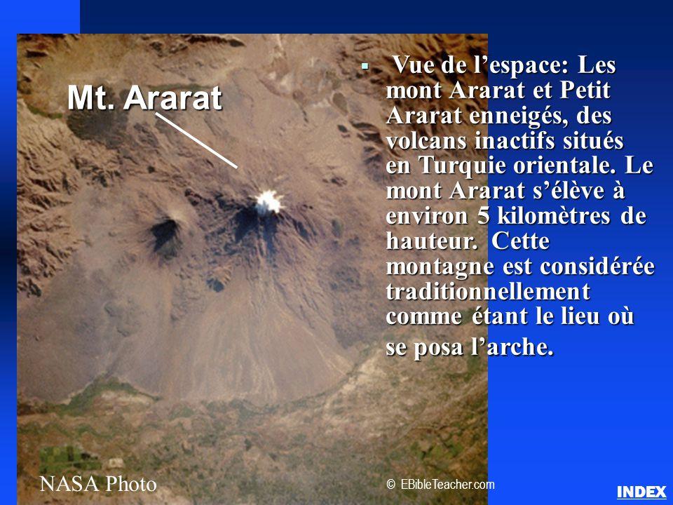  Vue de l'espace: Les mont Ararat et Petit Ararat enneigés, des volcans inactifs situés en Turquie orientale. Le mont Ararat s'élève à environ 5 kilo