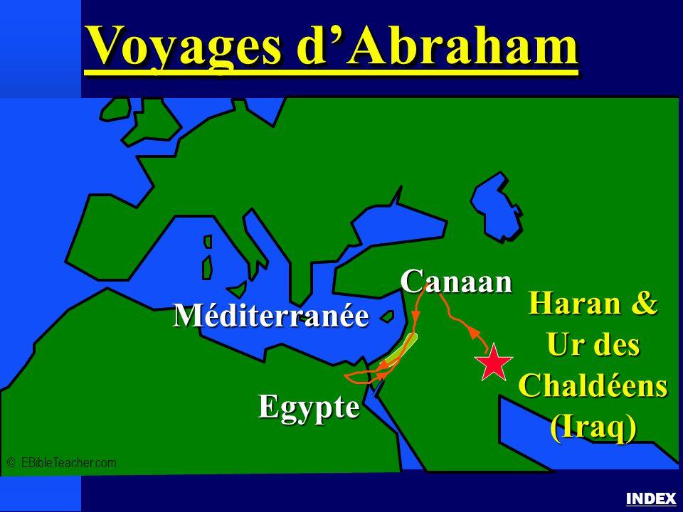 Voyages d'Abraham INDEX Voyages d'Abraham Voyages d'Abraham © EBibleTeacher.com Méditerranée Egypte Haran & Ur des Chaldéens (Iraq) Canaan
