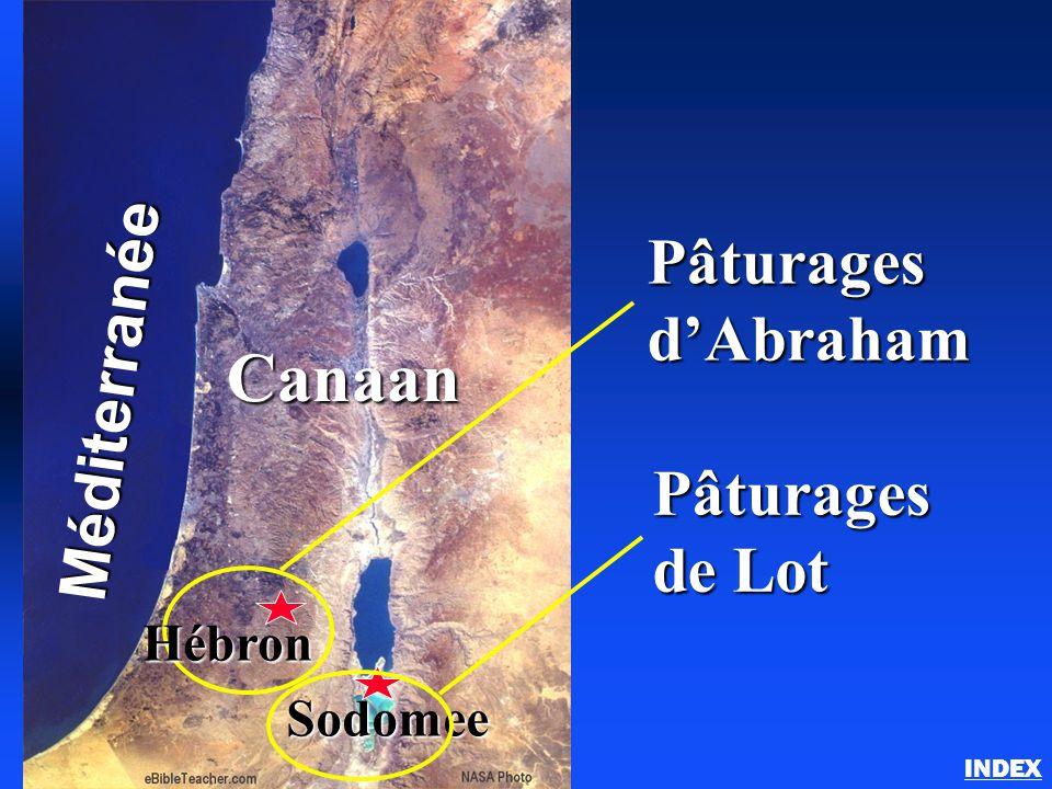 Abraham au pays de Canaan INDEXMéditerranée Canaan Sodomee Pâturages d'Abraham Pâturages de Lot Hébron