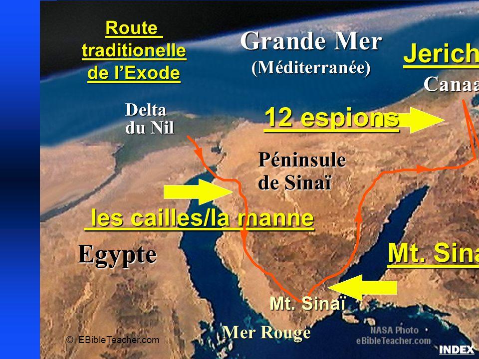 Egypte Delta du Nil Grande Mer (Méditerranée) Mer Rouge Péninsule de Sinaï Canaan Routetraditionelle de l'Exode © EBibleTeacher.com les cailles/la man