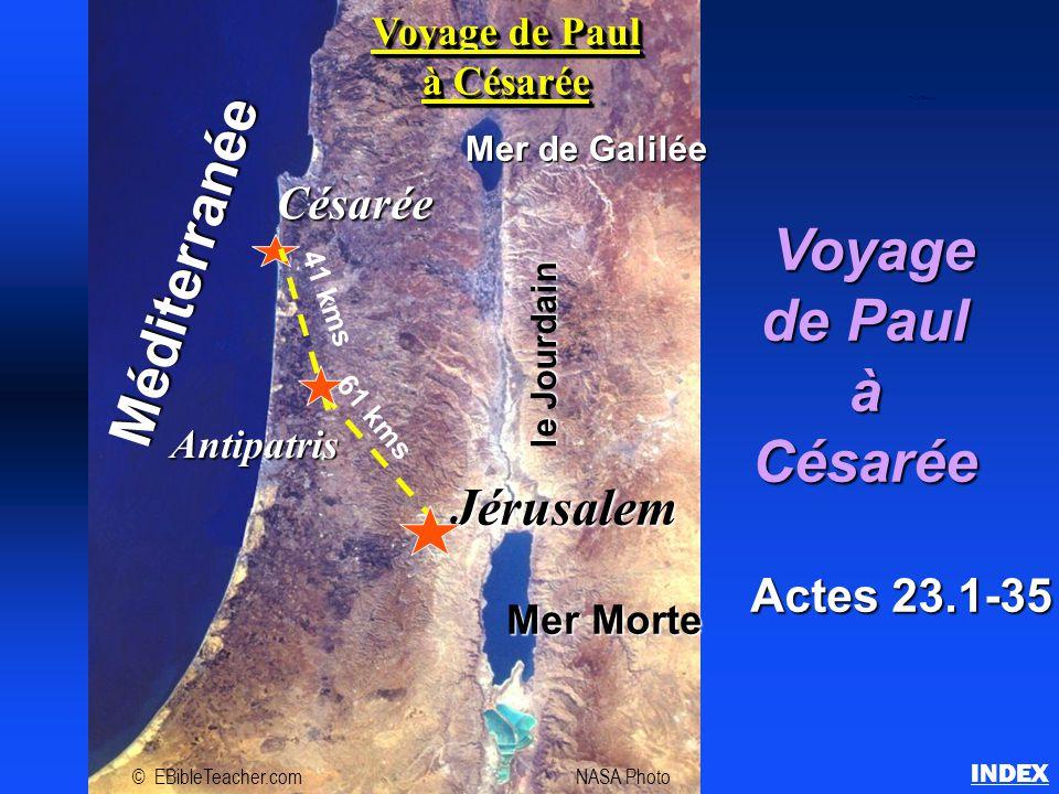 Voyage Voyage de Paul àCésarée Actes 23.1-35 INDEX Paul à Césarée Jérusalem Césarée Méditerranée Mer de Galilée Mer Morte le Jourdain Antipatris 61 km