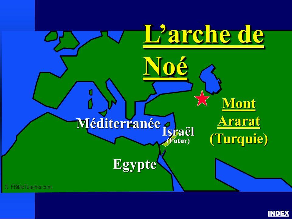 Arche de Noé 1 INDEX © EBibleTeacher.com Méditerranée Egypte MontArarat(Turquie) L'arche de Noé Israël(Futur)