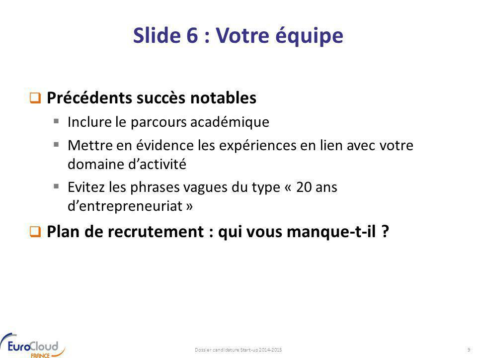 Slide 6 : Votre équipe  Précédents succès notables  Inclure le parcours académique  Mettre en évidence les expériences en lien avec votre domaine d