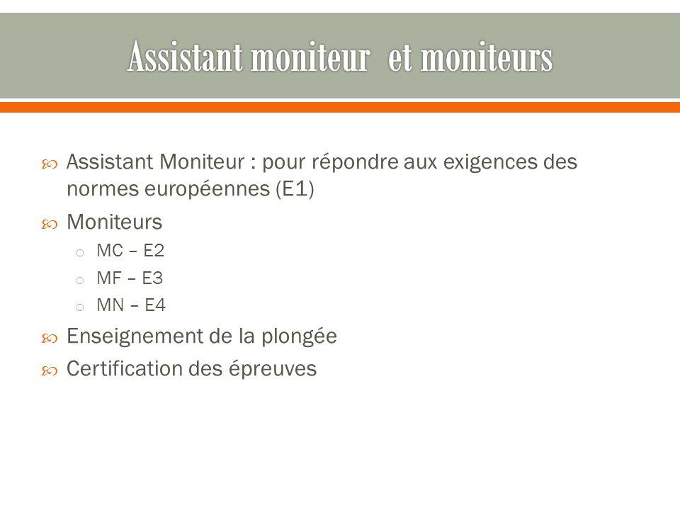  Assistant Moniteur : pour répondre aux exigences des normes européennes (E1)  Moniteurs o MC – E2 o MF – E3 o MN – E4  Enseignement de la plongée