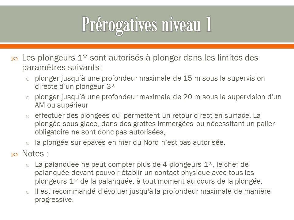  Les plongeurs 1* sont autorisés à plonger dans les limites des paramètres suivants: o plonger jusqu'à une profondeur maximale de 15 m sous la superv