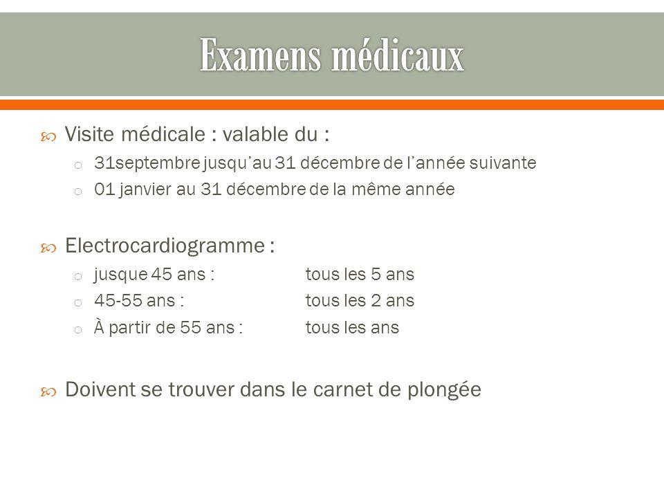  Visite médicale : valable du : o 31septembre jusqu'au 31 décembre de l'année suivante o 01 janvier au 31 décembre de la même année  Electrocardiogr