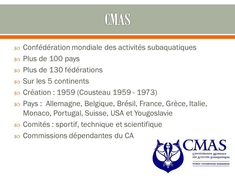  Confédération mondiale des activités subaquatiques  Plus de 100 pays  Plus de 130 fédérations  Sur les 5 continents  Création : 1959 (Cousteau 1