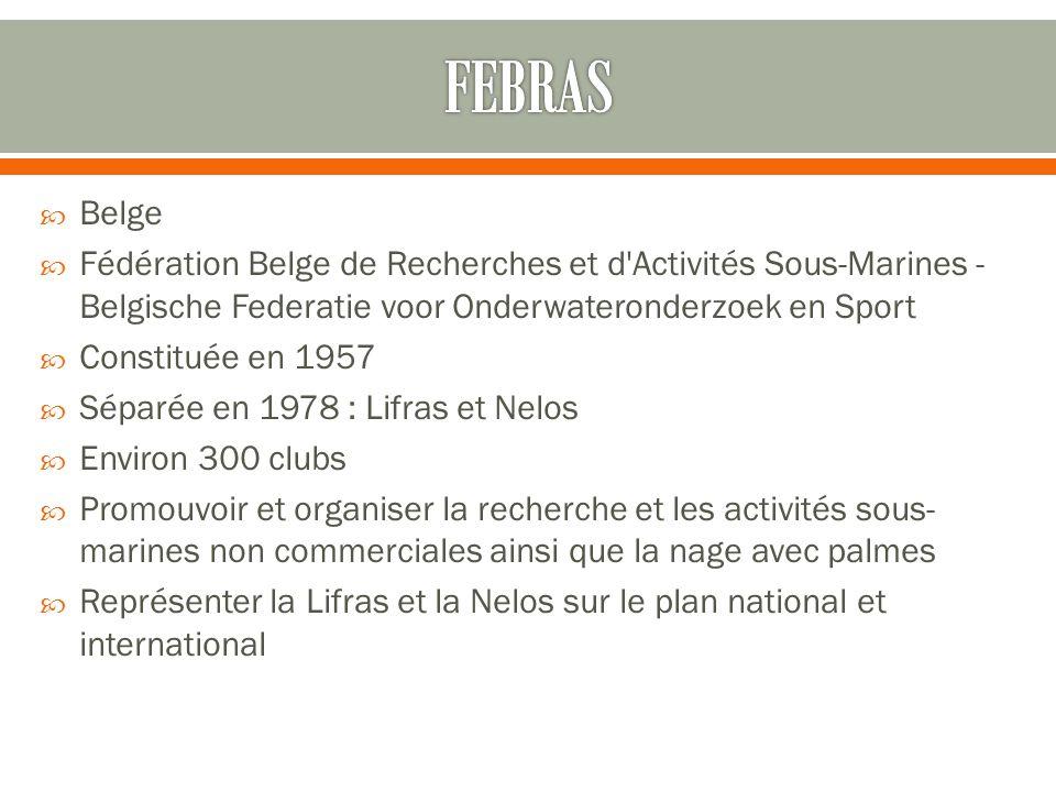  Belge  Fédération Belge de Recherches et d'Activités Sous-Marines - Belgische Federatie voor Onderwateronderzoek en Sport  Constituée en 1957  Sé