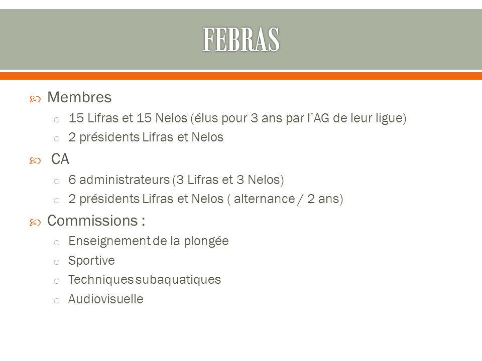 Membres o 15 Lifras et 15 Nelos (élus pour 3 ans par l'AG de leur ligue) o 2 présidents Lifras et Nelos  CA o 6 administrateurs (3 Lifras et 3 Nelo
