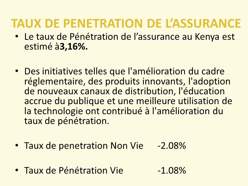 TAUX DE PENETRATION DE L'ASSURANCE Le taux de Pénétration de l'assurance au Kenya est estimé à3,16%.