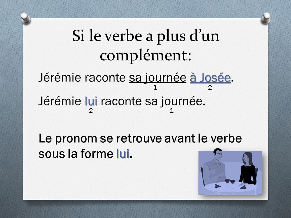 Si le verbe a plus d'un complément: à Josée Jérémie raconte sa journée à Josée. lui Jérémie lui raconte sa journée. lui Le pronom se retrouve avant le