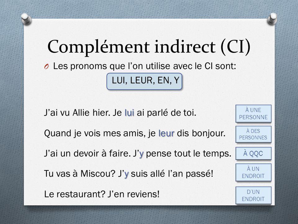 O Les pronoms que l'on utilise avec le CI sont: LUI, LEUR, EN, Y lui J'ai vu Allie hier. Je lui ai parlé de toi. leur Quand je vois mes amis, je leur