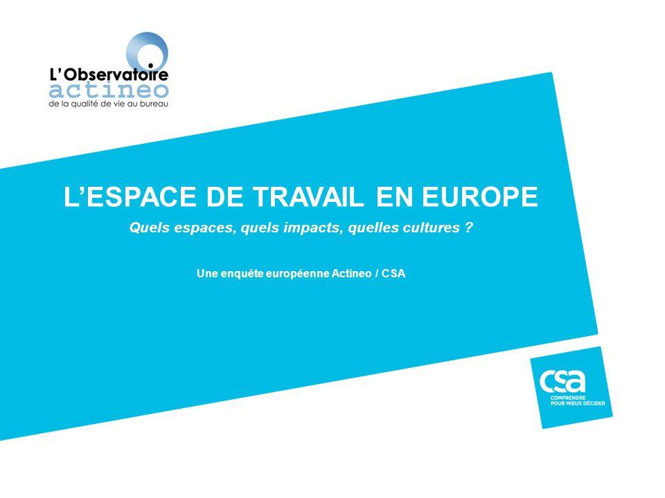 Enquête européenne Actineo / CSA 2 ACTINEO, Observatoire de la qualité de vie au bureau est une initiative française qui a pour objectif de sensibiliser les entreprises et de les inciter à se servir de l'espace de travail comme levier de performance et source de bien être pour les collaborateurs.
