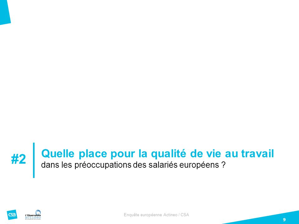 Enquête européenne Actineo / CSA 9 Quelle place pour la qualité de vie au travail dans les préoccupations des salariés européens .