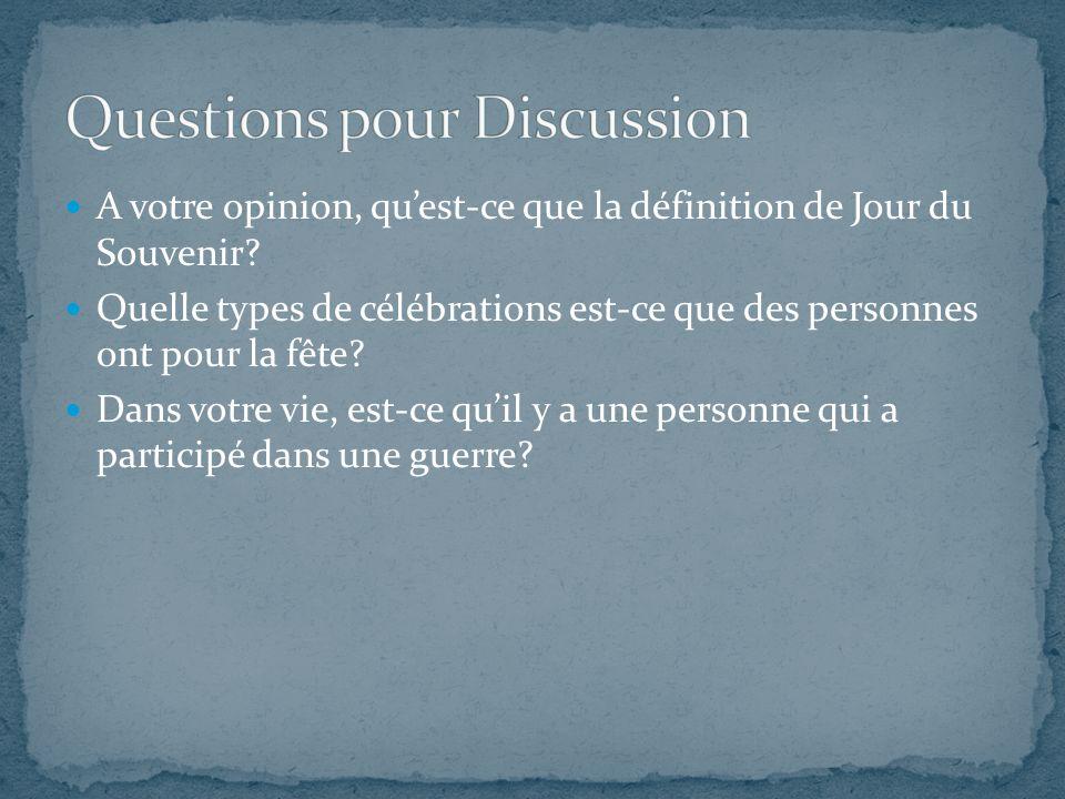 A votre opinion, qu'est-ce que la définition de Jour du Souvenir? Quelle types de célébrations est-ce que des personnes ont pour la fête? Dans votre v