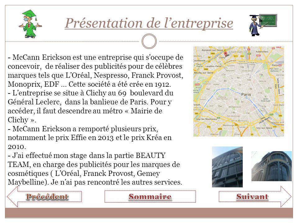 Présentation de l'entreprise - McCann Erickson est une entreprise qui s'occupe de concevoir, de réaliser des publicités pour de célèbres marques tels que L'Oréal, Nespresso, Franck Provost, Monoprix, EDF … Cette société a été crée en 1912.