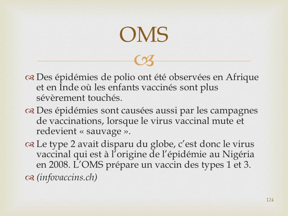   Des épidémies de polio ont été observées en Afrique et en Inde où les enfants vaccinés sont plus sévèrement touchés.  Des épidémies sont causées