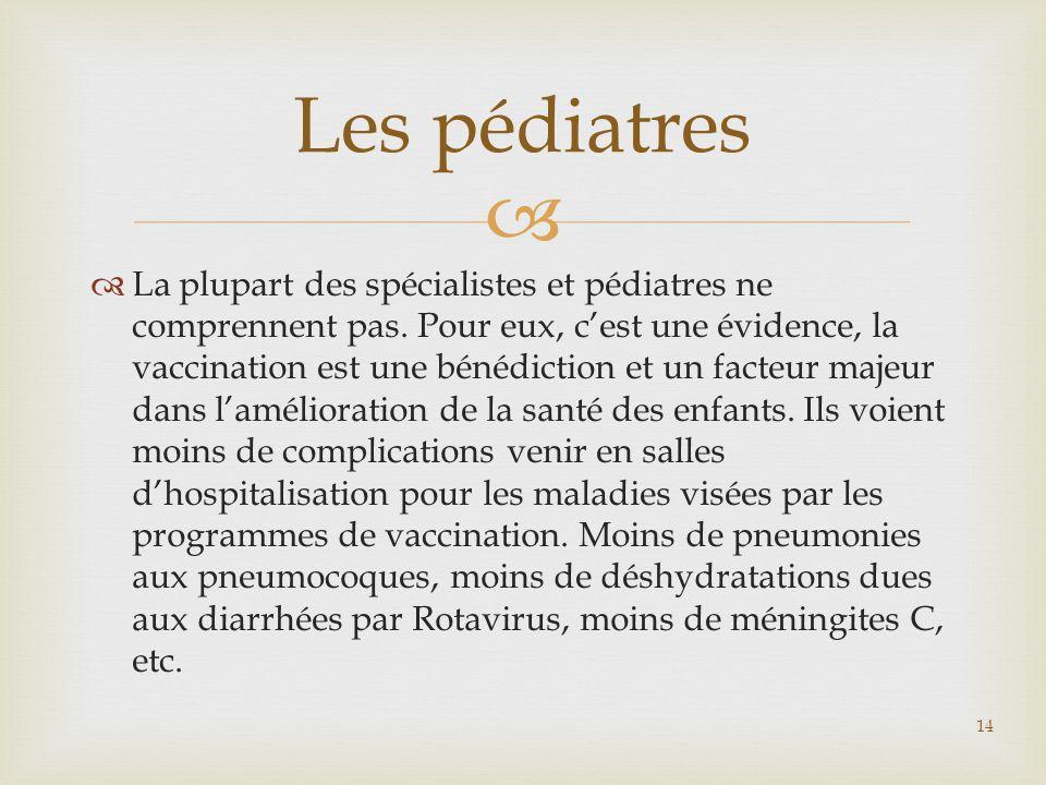   La plupart des spécialistes et pédiatres ne comprennent pas. Pour eux, c'est une évidence, la vaccination est une bénédiction et un facteur majeur