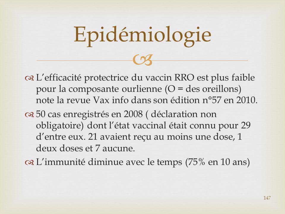   L'efficacité protectrice du vaccin RRO est plus faible pour la composante ourlienne (O = des oreillons) note la revue Vax info dans son édition n°