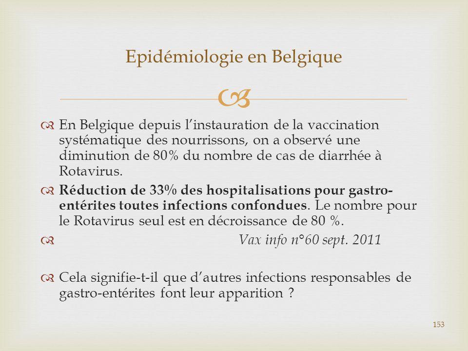   En Belgique depuis l'instauration de la vaccination systématique des nourrissons, on a observé une diminution de 80% du nombre de cas de diarrhée
