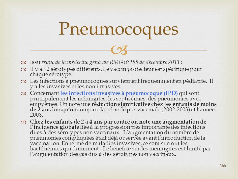   Issu revue de la médecine générale RMG n°288 de décembre 2011 :  Il y a 92 sérotypes différents. Le vaccin protecteur est spécifique pour chaque